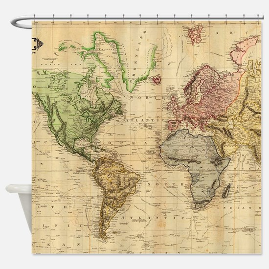 Vintage Map of The World (1831) Shower Curtain