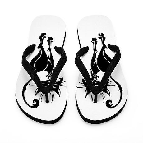 Black Siamese Cat Flip Flops
