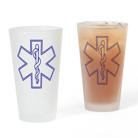 Blue Star of Life (outline) Drinking Glass