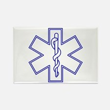 Blue Star of Life (outline) Rectangle Magnet