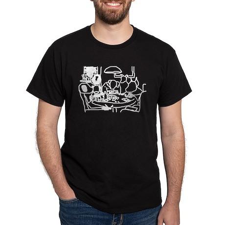 Dogs White on Black T-Shirt