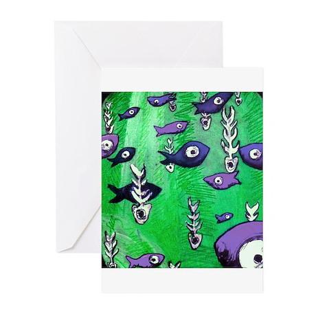 Green Fish & Bone Greeting Cards (Pk of 10)
