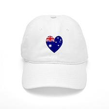 Australia Flag Heart 2 Baseball Cap