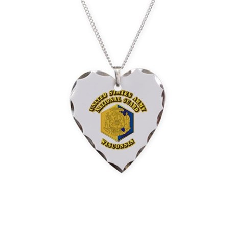 Army National Guard - Wisconsin Necklace Heart Cha
