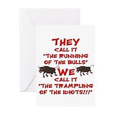 Running of the Bulls Greeting Card