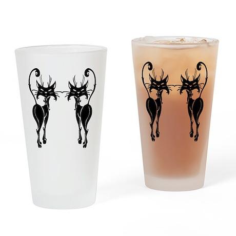 Black Siamese Twins Drinking Glass