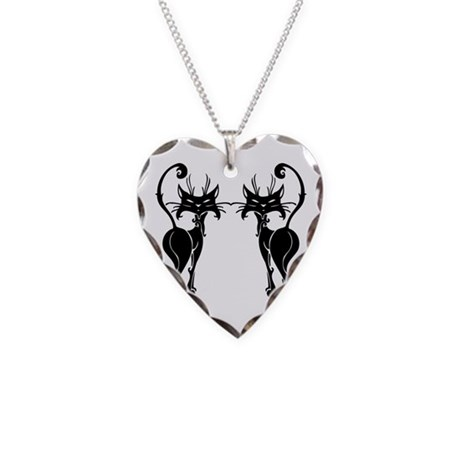 Black Siamese Twins Necklace Heart Charm