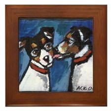 RAT TERRIER kiss Framed Tile