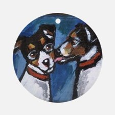 RAT TERRIER kiss Ornament (Round)