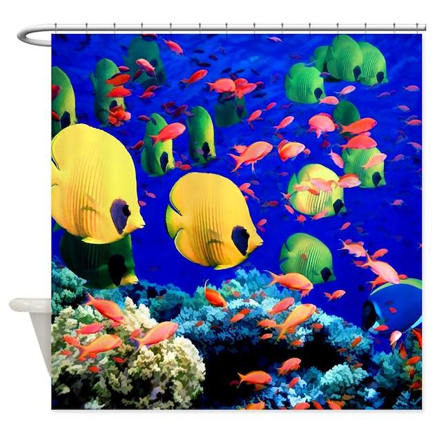Curtains Ideas coral reef shower curtain : Undersea Coral & Tropical Fish Shower Curtain by DigitalRealityArt