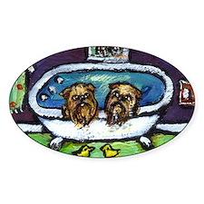 BRUSSELS GRIFFON purple bathr Oval Decal
