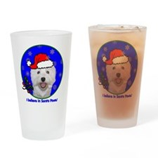 SANTA PAWS Westie Drinking Glass