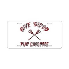 Give Blood Play Lacrosse Aluminum License Plate