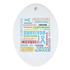 Survivor Prostate Cancer Ornament (Oval)