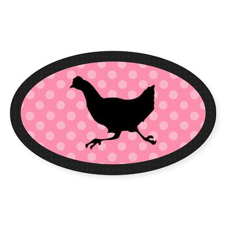Running Chicken Sticker (Oval)