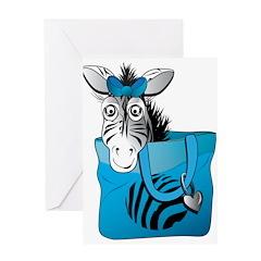 Zebra in a blue bag Greeting Card