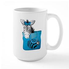 Zebra in a blue bag Large Mug