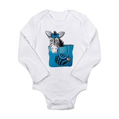 Zebra in a blue bag Long Sleeve Infant Bodysuit