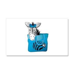 Zebra in a blue bag Car Magnet 20 x 12