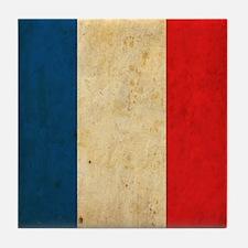 Vintage France Flag Tile Coaster