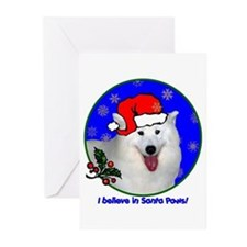 SANTA PAWS Samoyed Greeting Cards (Pk of 10)