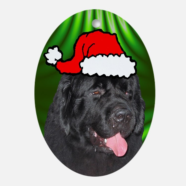 SANTA PAWS Newfoundland Ornament (Oval)