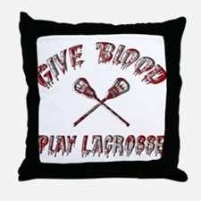 Give Blood Play Lacrosse Throw Pillow