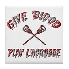 Give Blood Play Lacrosse Tile Coaster