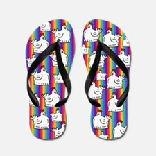 Rainbow Stripe Chicken Flip Flops