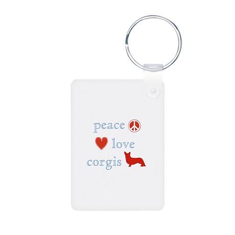 Peace, Love and Corgis Aluminum Photo Keychain