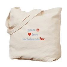 Peace, Love and Dachshunds Tote Bag