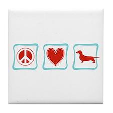Peace, Love and Dachshunds Tile Coaster