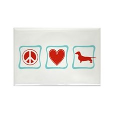 Peace, Love and Dachshunds Rectangle Magnet
