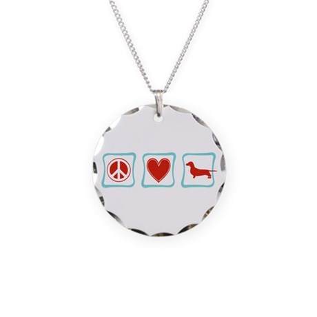 Peace, Love and Dachshunds Necklace Circle Charm