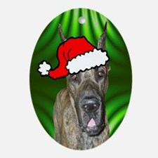 SANTA PAWS Great Dane Ornament (Oval)