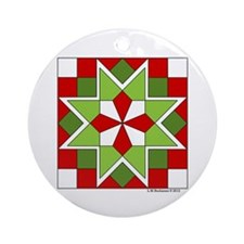 Plaid Star Ornament (Round)