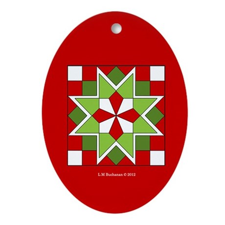 Plaid Star Ornament (Oval)