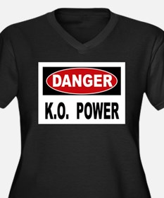K.O. Power Women's Plus Size V-Neck Dark T-Shirt