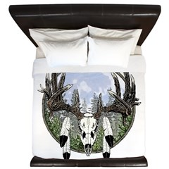 Whitetail deer skull 7 King Duvet
