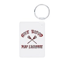 Give Blood Play Lacrosse Keychains