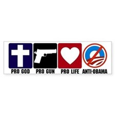 Pro God Guns Life Anti Obama Bumper Sticker