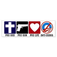 Pro God Guns Life Anti Obama Bumper Stickers