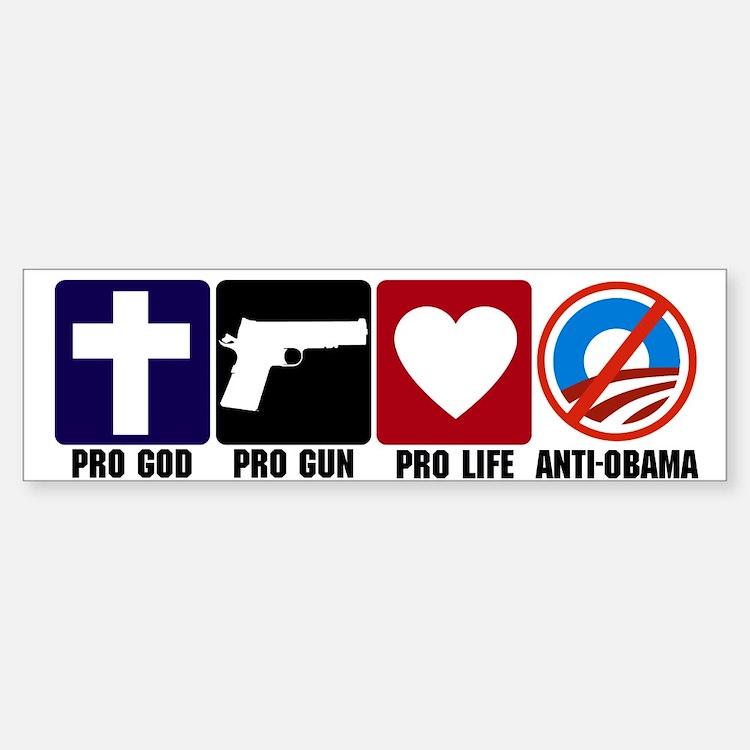 Pro God Guns Life Anti Obama Sticker (Bumper)