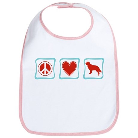 Peace, Love, Golden Retrievers Bib