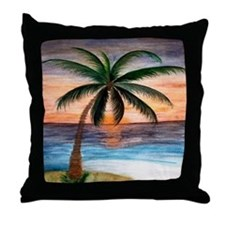 Palm Tree Sunset Art Throw Pillow