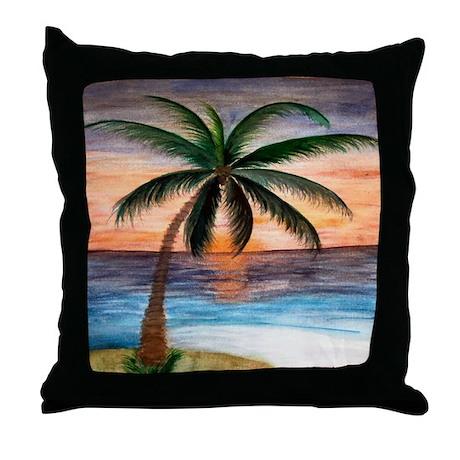 Palm Tree Sunset Art Throw Pillow