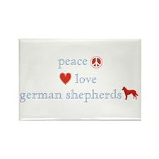 Peace, Love, German Shepherds Rectangle Magnet