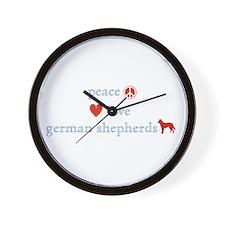 Peace, Love, German Shepherds Wall Clock