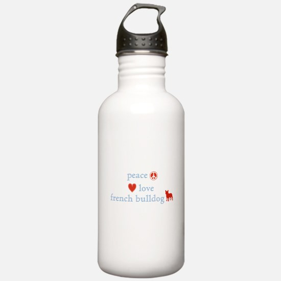 Peace, Love & French Bulldogs Water Bottle