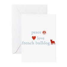Peace, Love & French Bulldogs Greeting Cards (Pk o